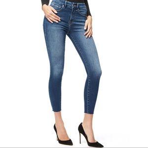 NWT Good American Good Waist Crop Jeans Raw Hem